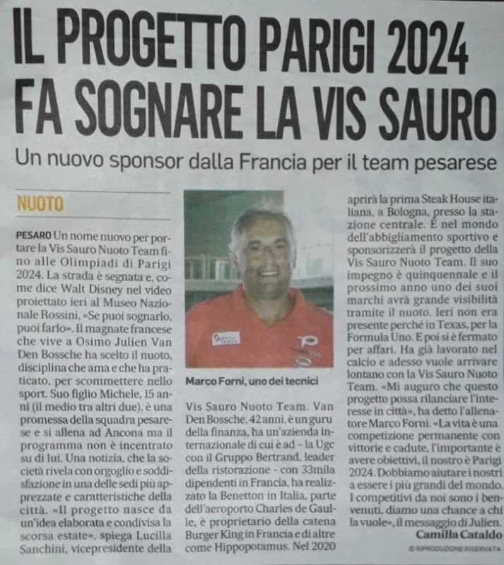 il progetto Parigi 2024 fa sognare la Vis Sauro