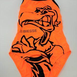 Costume BAMBINA Vis Sauro 2019 colorato logo nero modello Giorgia arancio fluo